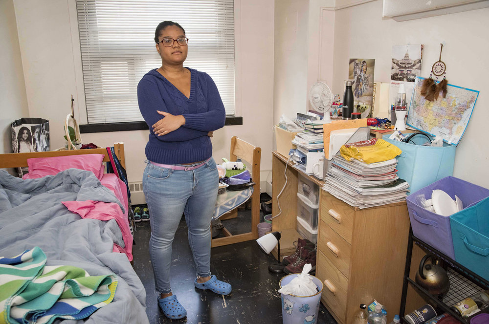 "Palmer, who first enrolled in Hunter in 2010 after a stint at St. John's University in Queens, said dorm life is ""really lonely"" for someone in her 30s.  ""I feel very isolated.""  But free rent's free rent, so ...  (Photo credit: David Mcglynn, nypost)"