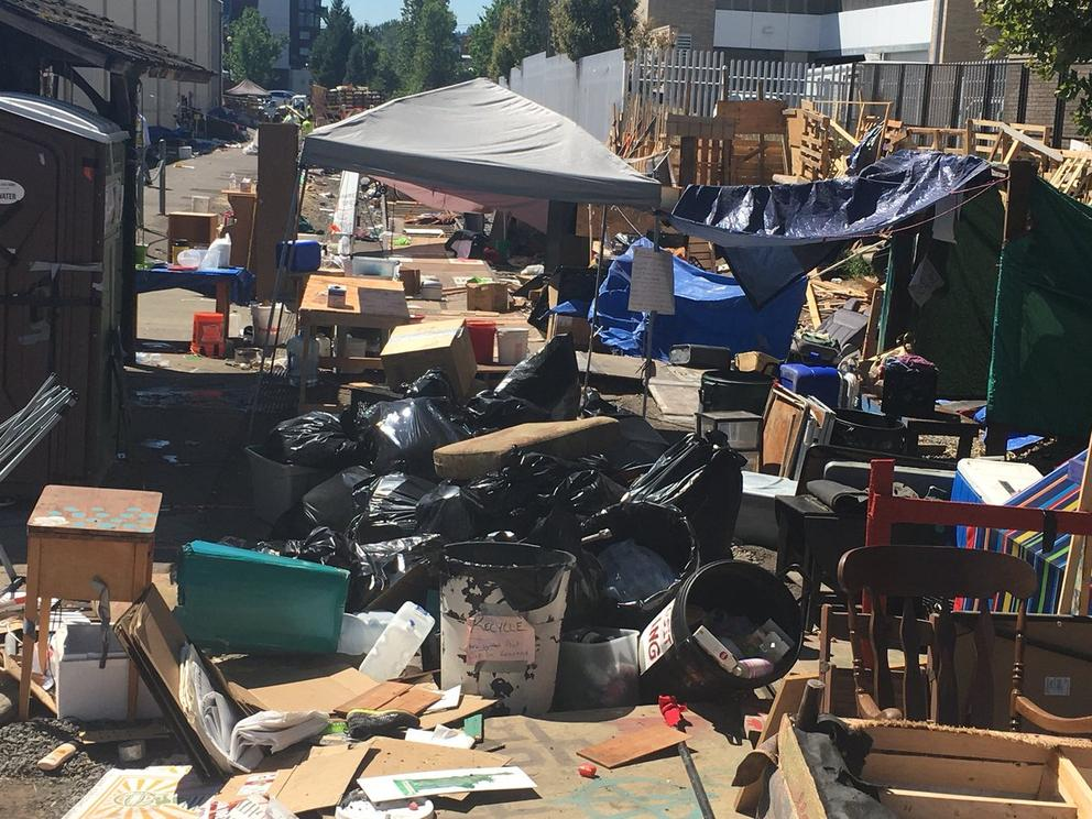 ICE Protest encampment, post event, 2018