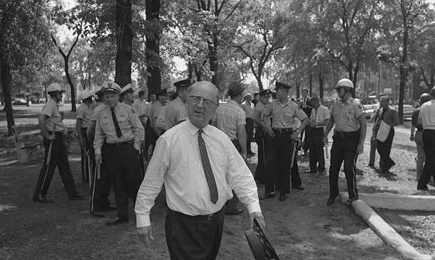 1963: Democrat National convention delegate bull conner, birmingham. ALabama, police chief, leads his troops to assault black protestors
