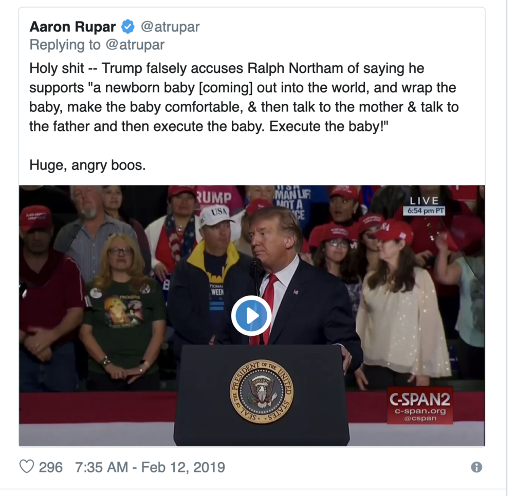 """Even in the face of irrefutable proof that that's exactly what Northam said. They don't care — the big lie, """"verified"""" by Twitter. There are literally dozens (hundreds?) of examples of this sort of outright lying on the internet these days, and the TDS crowd, judging from their comments on tweets, fall for them, hook, line, and sinker"""