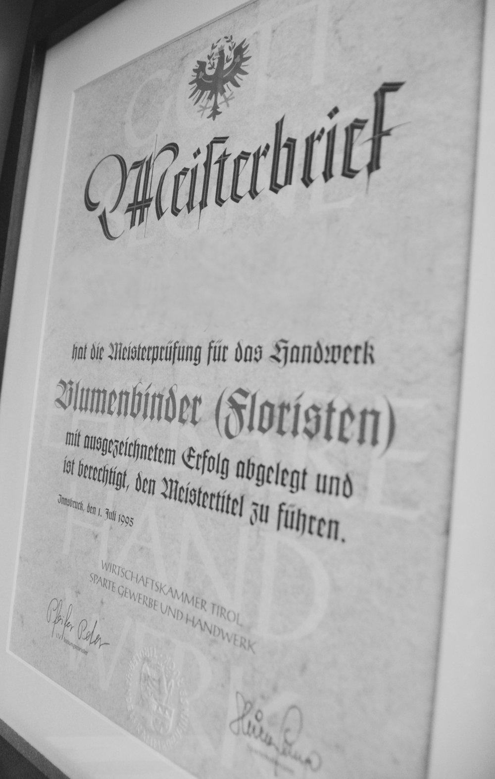Das staatliche Meisterdiplom - höchste Ehrung für höchste Leistungen.