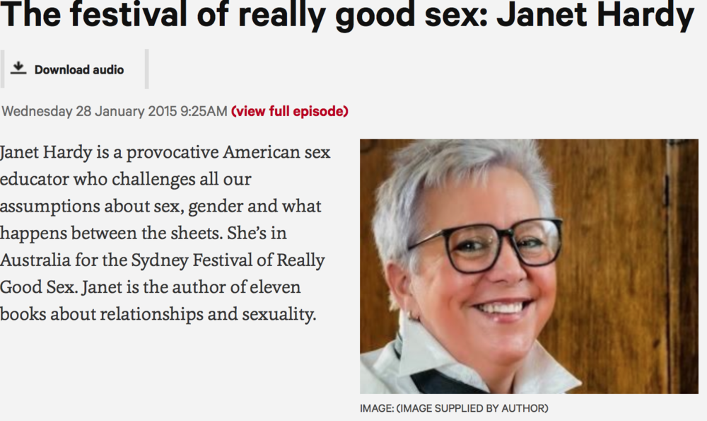 Listen to Janet Hardy's interview about the festival on ABC Radio National