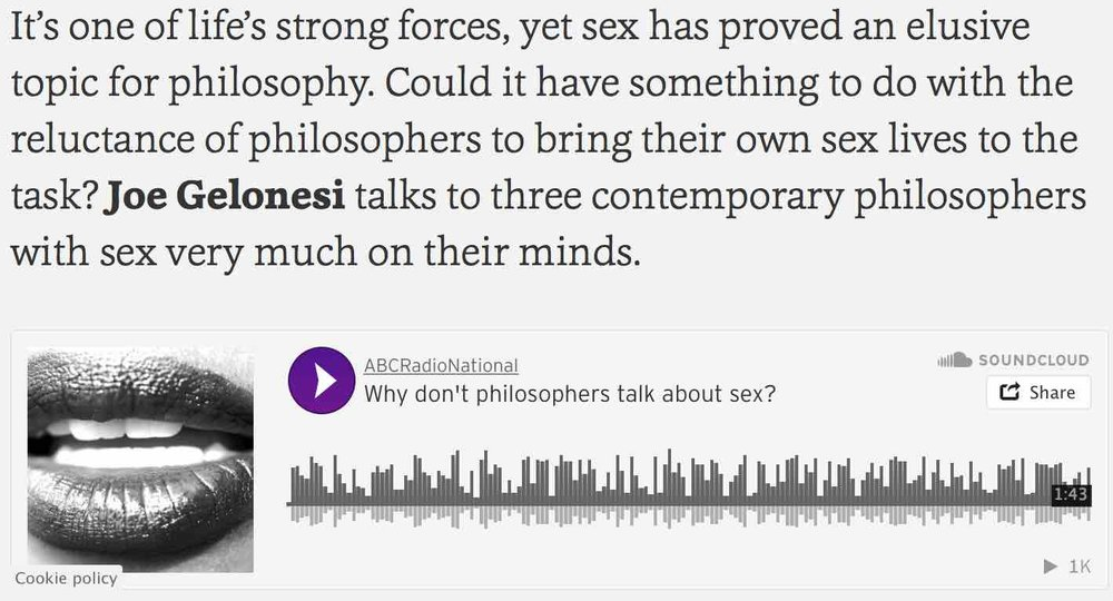 "Listen to Festival Director, Dr. Peter Banki, on ABC Radio National ""Sex and Philosophy, Uneasy Bedfellows"""
