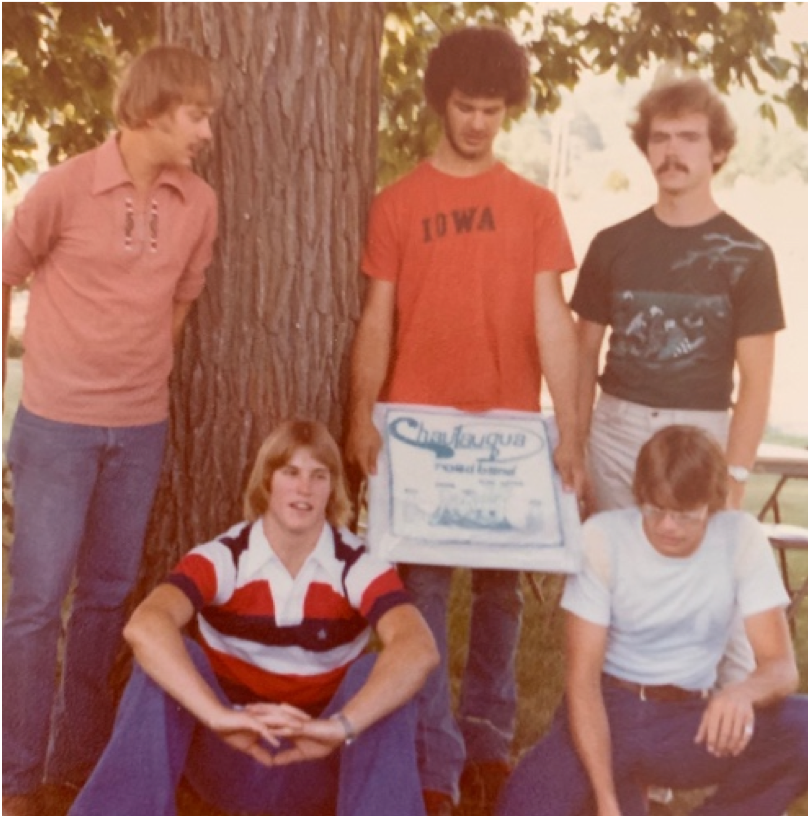 The last CRB show in 1977. Stuart Peterson, Gregg, Mike, Neil Johnson (kneeling down), and James.