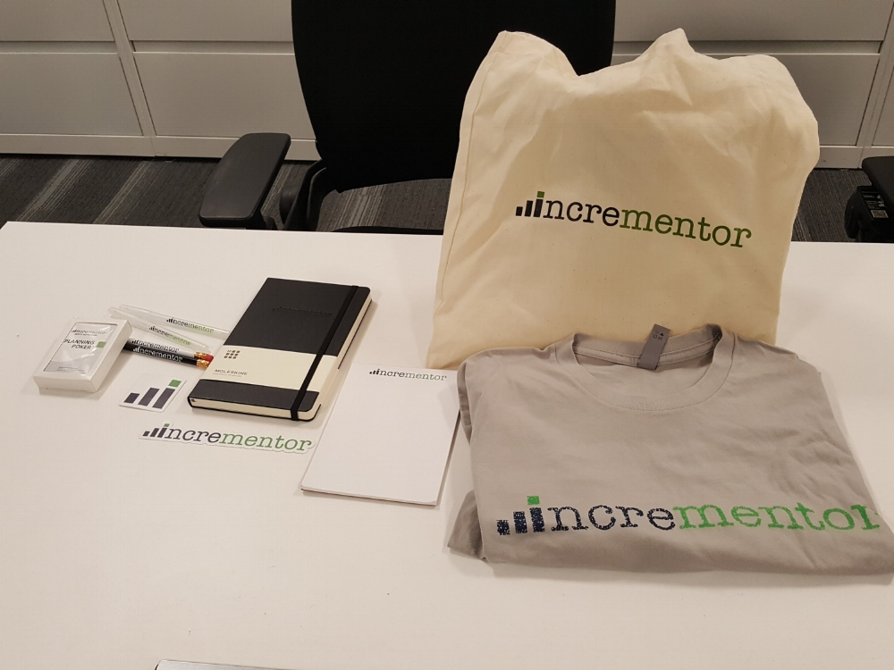 Incrementor Swag for new Scrum Master (T-Shirt, Tote, Planning Poker Cards, Pens, Stickers and Moleskine).
