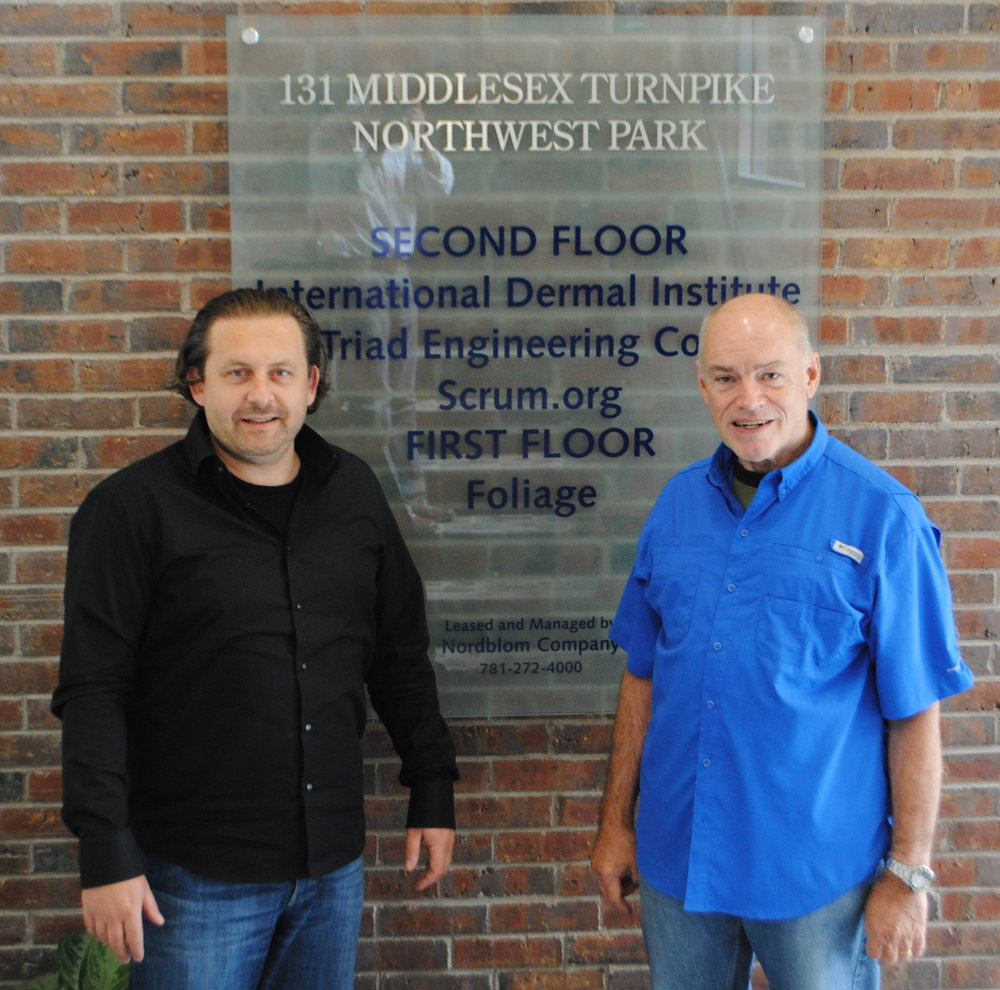 Joe Krebs and Ken Schwaber at the birthplace of Scrum in Burlington, MA