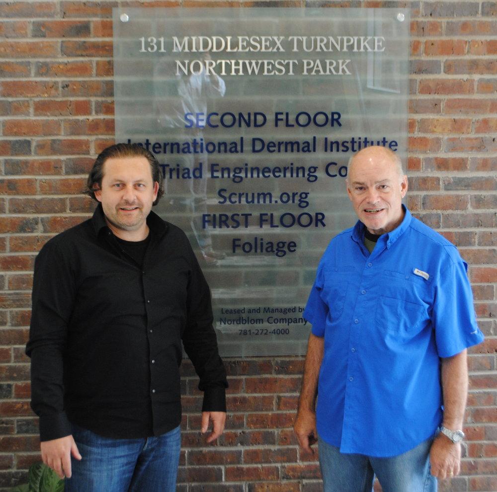 Joe Krebs and Ken Schwaber at the Birthplace of Scrum in Burlington, MA