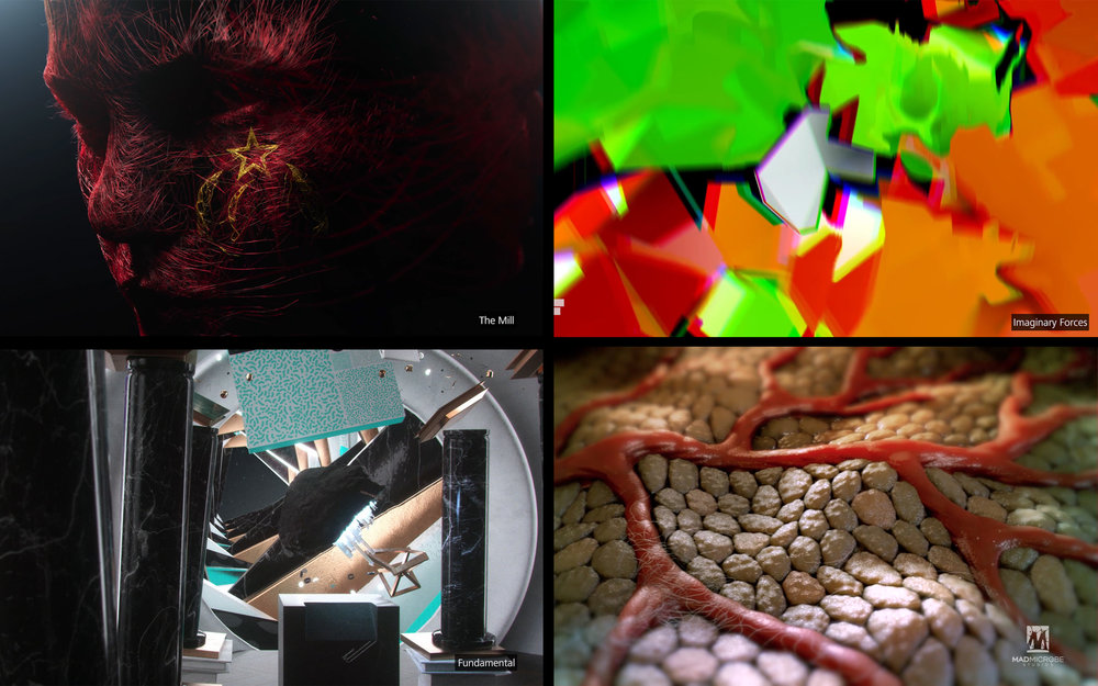Selected Frames from Artwork (from left top to right bottom: The Mill, Imaginary Forces, Fundamental, MADMicrobe