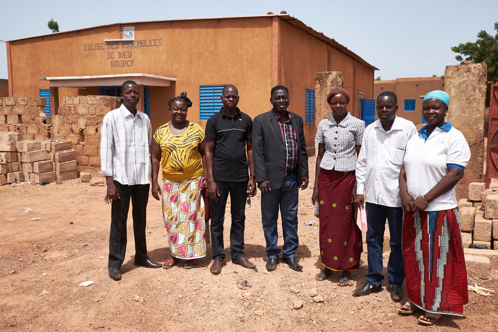 Members of the Assemblées de Dieu (Assemblies of God) church in Gourcy, Burkina Faso on October 4, 2016. Animata Ouedraogo (second from left) and other members of the church participated in a peace-building workshop in their community.