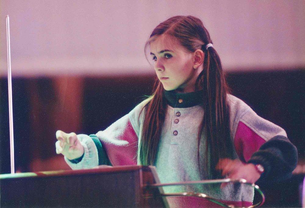 Carolina playing her Moog Big Briar 91A (1998)