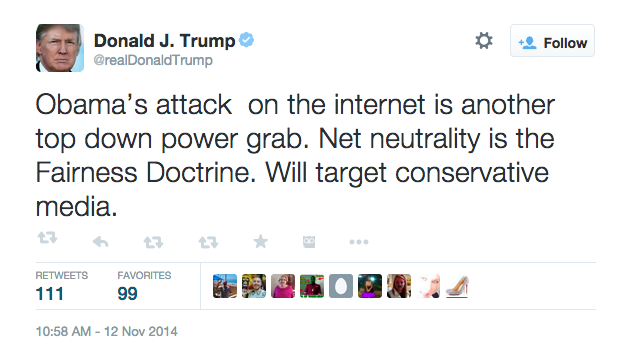 Snapshot of President Trump's tweet on Net Neutrality after the legislation of the new FCC policies back in 2014.