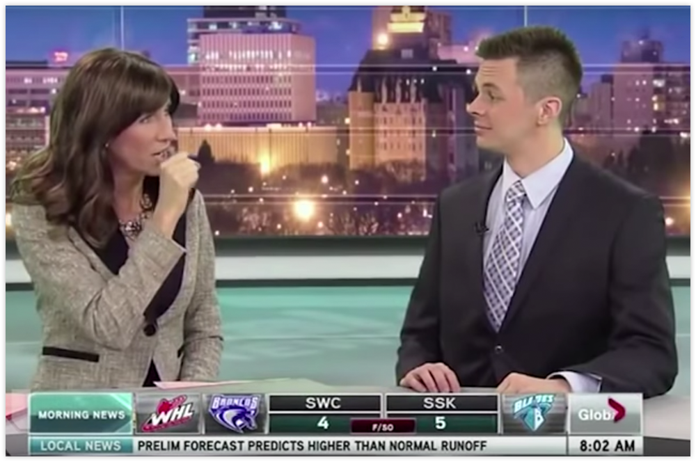 Snapshot from the Funny Local News bloopers compilation.