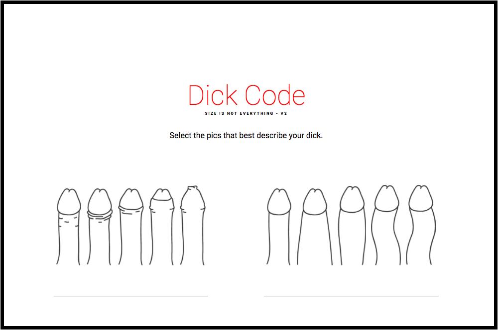 Screenshot from Dick Code website.