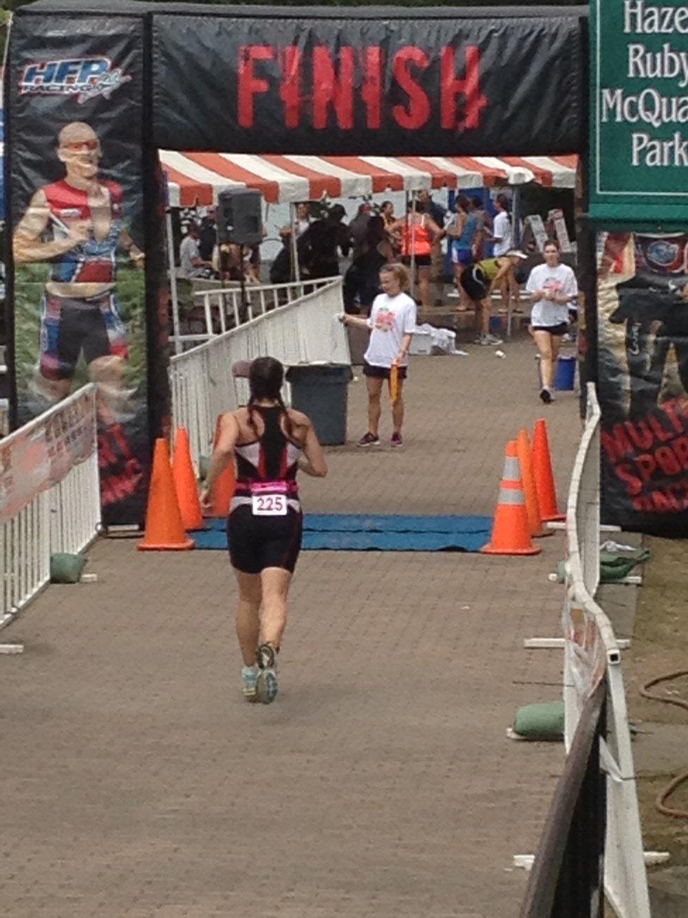 HVT Triathlete Karen F. on her way to her first ever podium, in the Morgantown Half Ironman back in 2012.