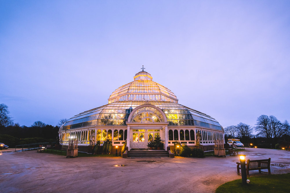 The Palm House, Sefton Park, at dusk.