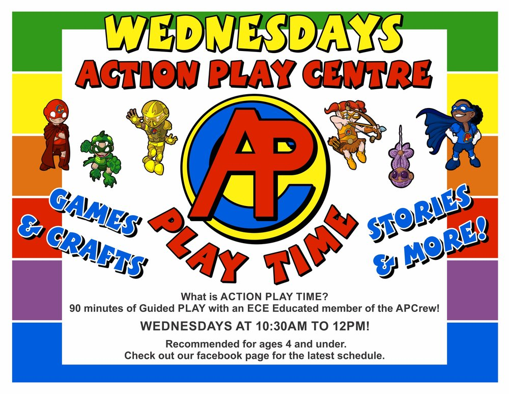 What is ACTION PLAY TIME? Just like the images says! 90 mins of Guided PLAY with an Education Trained member of the APCrew! WEDNESDAYS AT 10:30AM TO 12PM! Recommended for ages 4 and under. Check out our facebook page for the latest schedule. This service is included as part of regular APC Admission unless stated otherwise. Basically, if we can bring in an outside guest, service or entertainer, there may be an additional charge. This will always be posted well in advance, though.