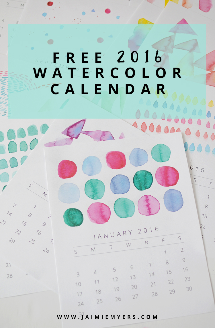 Free 2016 Printable Watercolor Calendar / Jaimie Myers