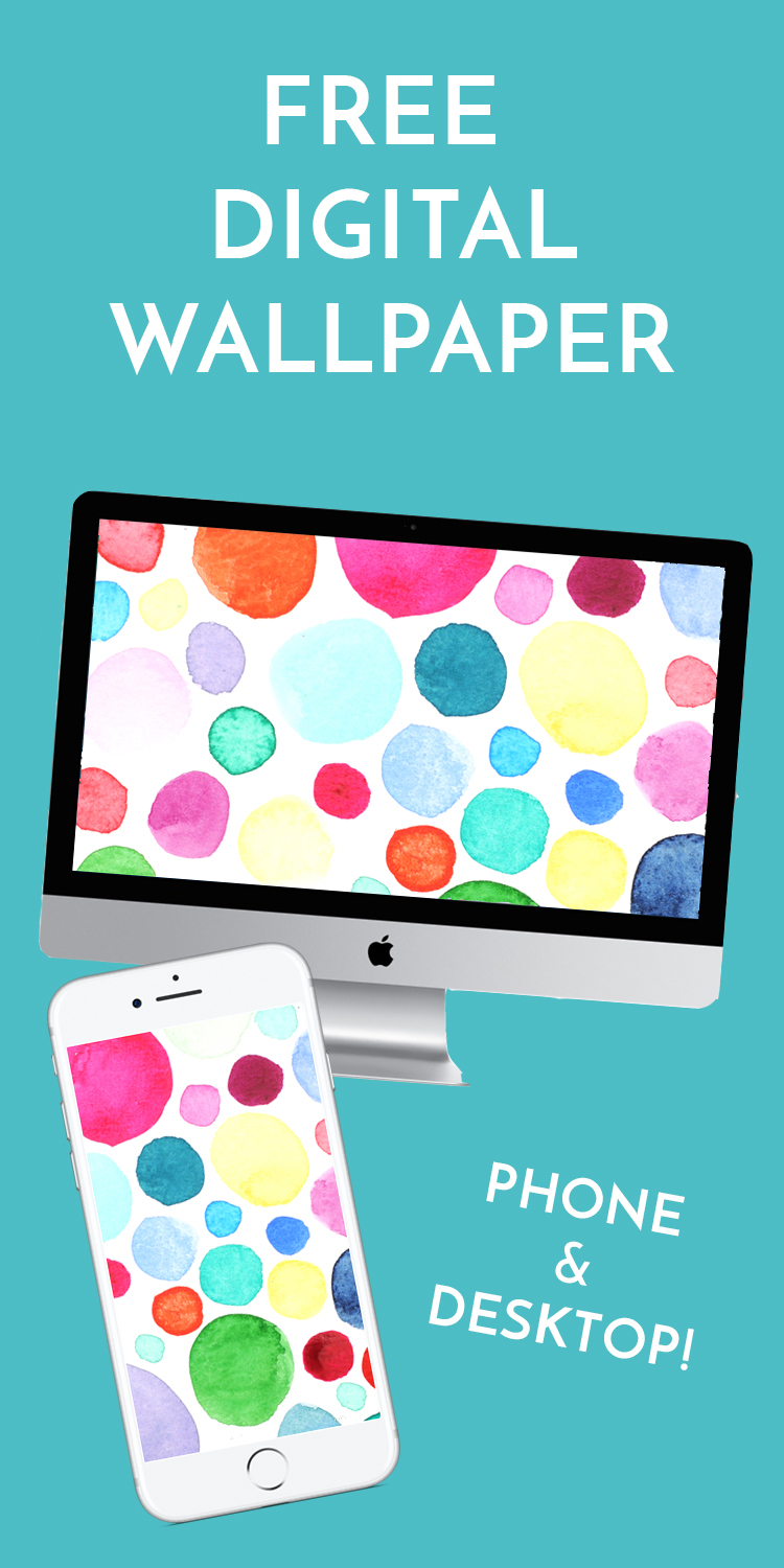 Free desktop and phone wallpaper with handmade watercolor polka dot illustration. Perfect for girl bosses ready to achieve greatness in 2017! Get the New Year off on the right foot with a party right on your phone! | Jaimie Myers | Download now or repin for later!