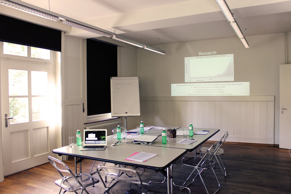 The Sangha seminar room offers a dynamic and inspirational atmosphere for brainstorming and team spirit building.