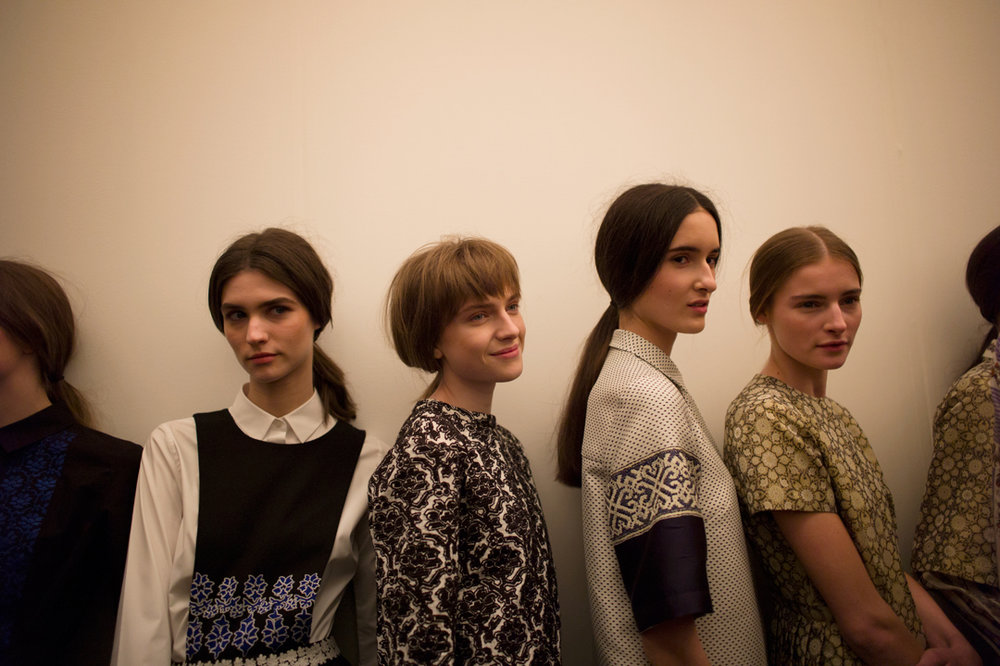 milkstudios: Model line up for Suno Photo by Amanda Hakan. Always my favorite show of the season!