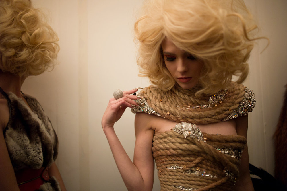madefw: All tied up. Backstage at The Blonds. Photo by Amanda Hakan.
