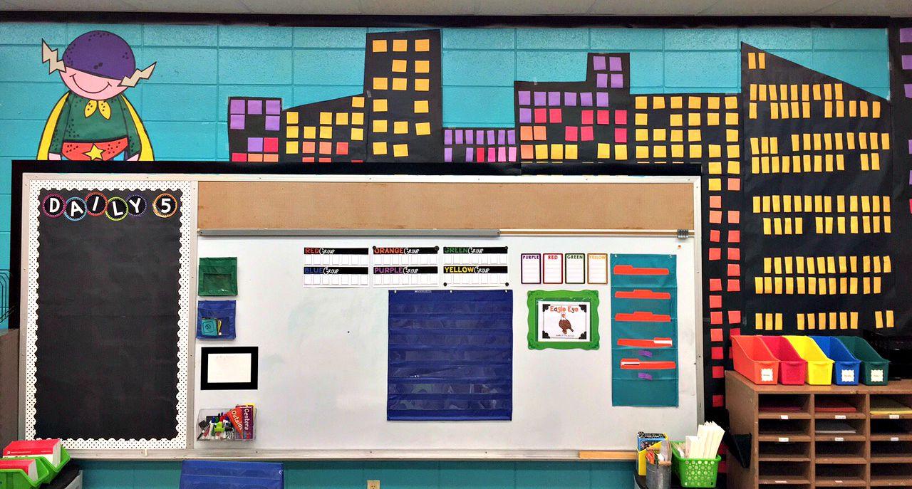 Superhero Themed Classroom Wall