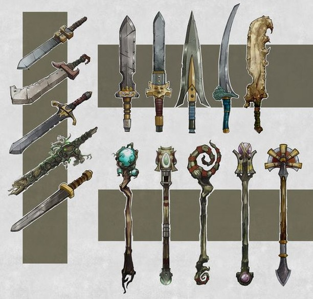 #DnDFanArt Dungeons and Dragons Concept Art:  Concept weapons & gear. 📸 by Billy Ahlswede. Go check out the link for more amazing work!  https://bit.ly/2Qp9yaa