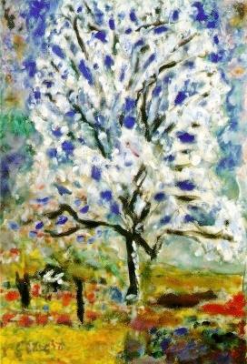 Son dernier tableau, «l'amandier en fleur » est comme un ultime hommage à la vie. Commencé en 1945 et terminé quelques jours avant sa mort en 1947.  Voulant y donner d'ultimes retouches et n'en ayant plus la force, il demande à Charles Terrasse, son neveu, de recouvrir de jaune le bas gauche du tableau (vert à l'origine). Le neveu s'exécute, recouvrant partiellement la signature de Bonnard…