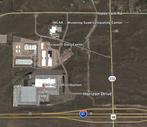 Map shown above is a satellite view of the most recent activity happening in North Range Business Park. The Data Center has acquired, and started construction, on an additional 100 acres to the west. This acquisition is not reflected on the map.