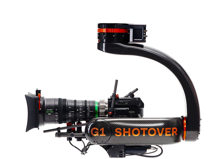 SHOTOVER - G1 A lightweight, weather resistant, gyro-stabilized gimbal platform that delivers unshakable stability with ultimate functionality. The SHOTOVER G1 can quickly be mounted on motorcycles, tracking vehicles, cranes, cables and almost anything that moves.