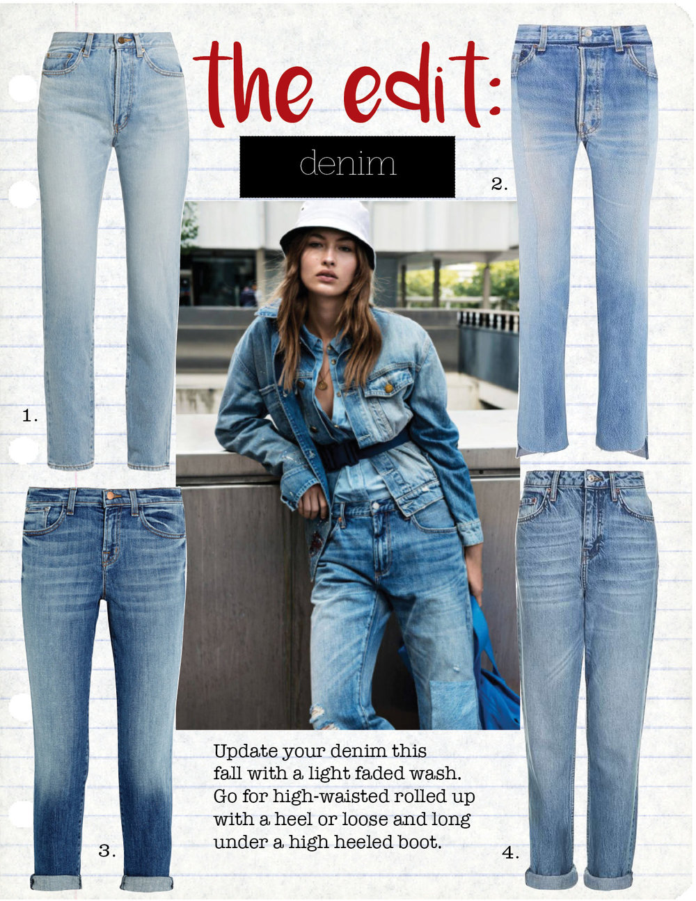 1. Saint Laurent High-Rise Straight-Leg Jeans, $750,  net-a-porter.com  2. Vetements reworked High-rise slim-leg jeans, $1460,  net-a-porter.com  3. J Brand Cropped mid rise slim leg jeans, $240,  net-a-porter.com  4. Top Shop high waist boyfriends jeans, $80,  topshop.com