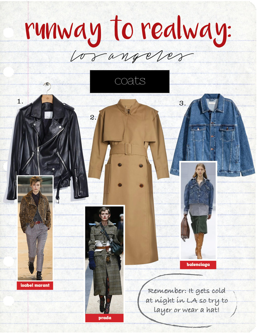 1. Phillip Lim Motorcycle Jacket, $1595,  31Philliplim.com  2. Balenciaga trench coat, $2550,  Matchesfashion.com  3. H&M Oversized denim Jacket, $59,  hm.com