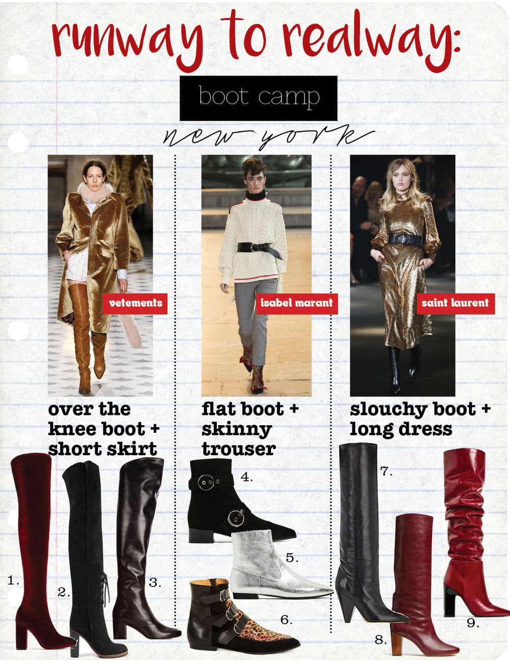 1. ZARA VELVET OVER THE KNEE HIGH HEEL BOOTS, $119,  ZARA.COM  2. PROENZA SCHOULER SUEDE OVER THE KNEE BOOTS, $1450,  NET-A-PORTER.COM  3. SAINT LAURENT BABIES OVER THE KNEE LEATHER BOOTS, $1595,  MATCHESFASHION.COM  4. ZARA POINTED LEATHER BUCKLED ANKLE BOOTS, $139,  ZARA.COM  5. ZARA LAMINATED LEATHER ANKLE BOOTS, $89,  ZARA.COM  6. ISABEL MARANT ROWI CALF-HAIR, LEATHER AND SUEDE ANKLE BOOTS, $748,  MATCHESFASHION.COM  7. ISABEL MARANT LAITH KNEE BOOTS, $1255,  BARNEYS.COM  8. CELINE HERITAGE BOOT IN BURGUNDY SHINY CALFSKIN, $1166,  CELINE.COM  9. ZARA LEATHER HIGH HEEL BOOTS, $239,  ZARA.COM