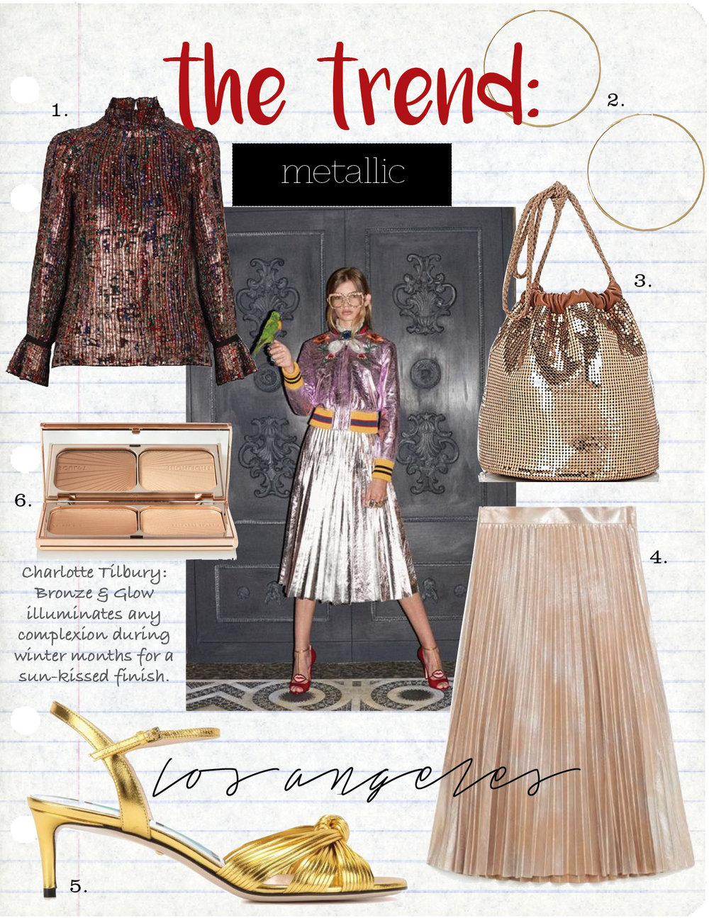 1. VANESSA BRUNO FLORENCE FLORAL-PRINT PLEATED BLOUSE, $701,  MATCHESFASHION.COM  2. MAGDA BUTRYM GOLD LARGE HOOP EARRINGS, $558,  FWRD.COM  3. PACO RABANNE SAC MESH BUCKET BAG, $1090,  BARNEYS.COM  4. ZARA METALLIC FINE PLEATED SKIRT, $69,  ZARA.COM  5. GUCCI LEATHER SANDALS, $390,  MYTHERESA.COM  6. CHARLOTTE TILBURY FILMSTAR BRONZE & GLOW, $68,  NET-A-PORTER.COM