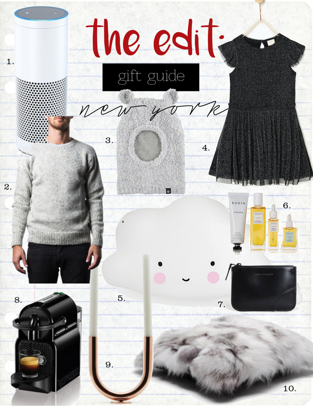 1. Echo, $179,  amazon.com  2. Warm wool sweater, $195,  warmny.myshopify.com  3. molo kis ski mask, $54,  yoyashop.com  4. zara shiny tulle dress, $29,  zara.com  5. moma cloud light, $145,  store.moma.org  6. rodin olio lusso travel kit, $250,  net-a-porter.com  7. comme des garcons black small zip top pouch, $165,  theline.com  8. nespresso intissia espresso maker, $94,  amazon.com  9. minimalux copper U candleholder, $325,  theline.com  10. tenfold new york white patched fox fur pillow, $395,  theline.com
