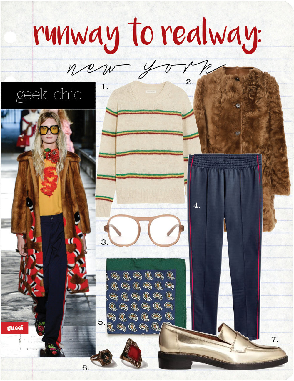 1. etoile isabel marant goya striped alpaca-blend sweater, $285,  net-a-porter.com  2. marni reversible shearling and leather coat, $5500,  net-a-porter.com  3. chloe marlow acetate glasses, $245,  matchesfashion.com  4. H&M black track-suit joggers, $14,  hm.com  5. zara paisley scarf, $7,  zara.com  6. topshop ethnic stone rings, $12,  topshop.com  7. h&m leather loafers, $59,  hm.com