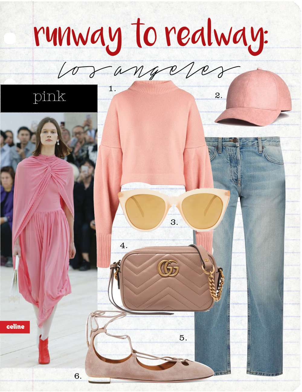 1. TIBI BISHOP-SLEEVED CROPPED CASHMERE SWEATER, $756,  MATCHESFASHION.COM  2. H&M LIGHT PINK CAP, $12,  HM.COM  3. LE SPECS HALFMOON CAT-EYE SUNGLASSES, $56,  MATCHESFASHION.COM  4. GUCCI GG MARMONT CAMERA MINI QUILTED LEATHER SHOULDER BAG, $980,  NET-A-PORTER.COM  5. THE ROW ASHLAND LOW-RISE STRAIGHT-LEG JEANS, $604,  MATCHESFASHION.COM  6. AQUAZZURA DANCER LACE-UP SUEDE BALLET FLATS, $725,  NET-A-PORTER.COM