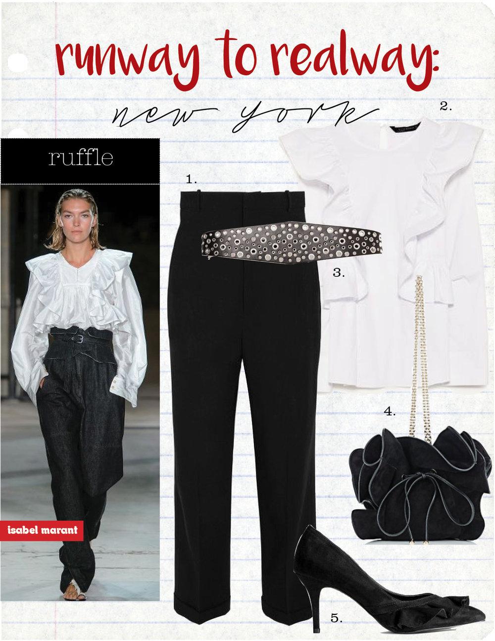 1. jacquemus cropped wool-crepe tapered pants, $570,  net-a-porter.com  2. zara frilled poplin top, $49,  zara.com  3. zara sash-style belt, $29,  zara.com  4. nina ricci lily small bucket bag, $1790,  barneys.com  5. h&m pumps with ruffle, $19,  hm.com