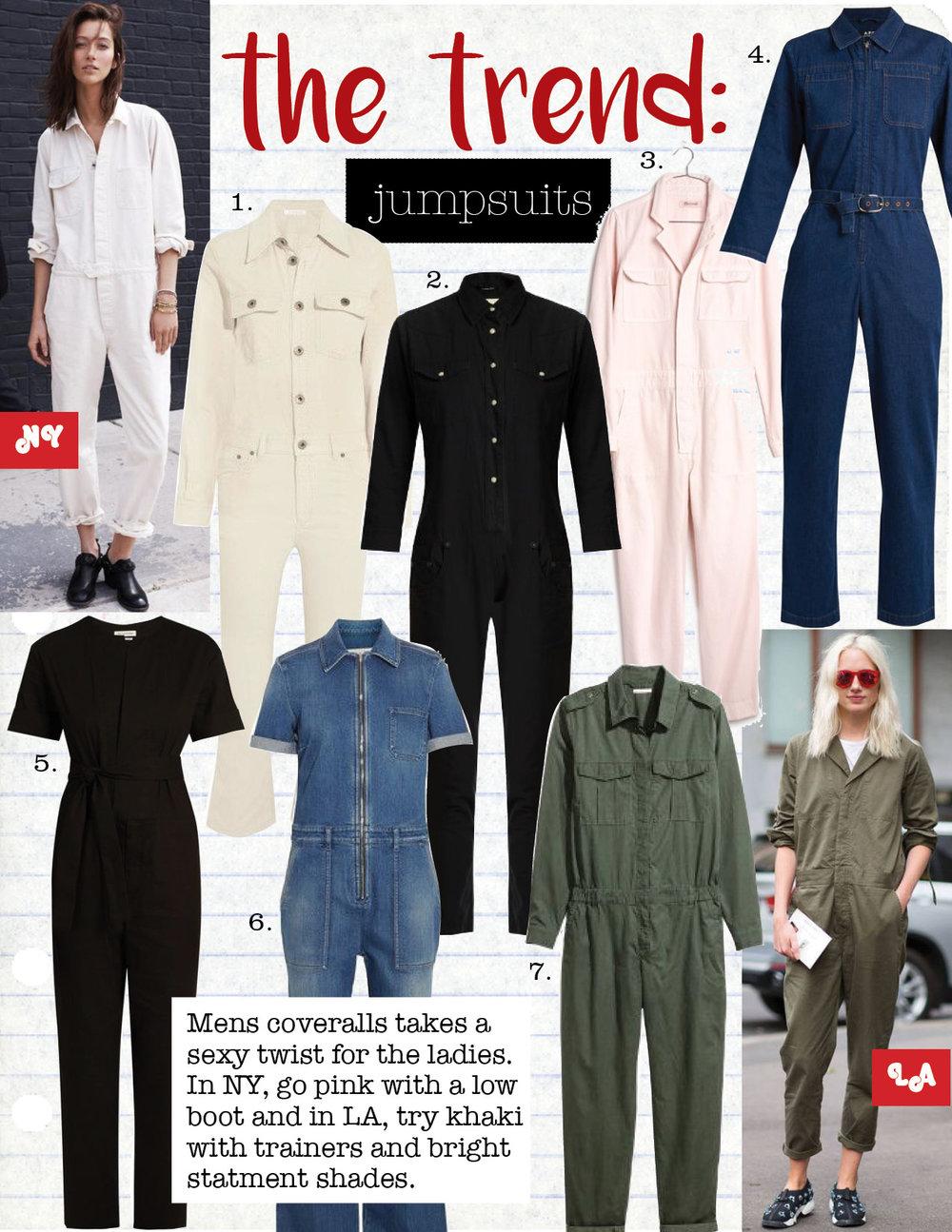1. chloe corduroy jumpsuit, $1195,  net-a-porter.com  2. r13 cowboy point-collar slim-leg cotton jumpsuit, $695,  matchesfashion.com  3. madewell pink coverall jumpsuit, $148,  madewell.com  4. a.p.c. truck cotton-denim jumpsuit, $275,  matchesfashion.com  5. isabel marant etoile nadela tie-waist jumpsuit, $560,  matchesfashion.com  6. stella maccartney denim jumpsuit, $895,  net-a-porter.com  7. h&m cotton blend jumpsuit, $59,  hm.com
