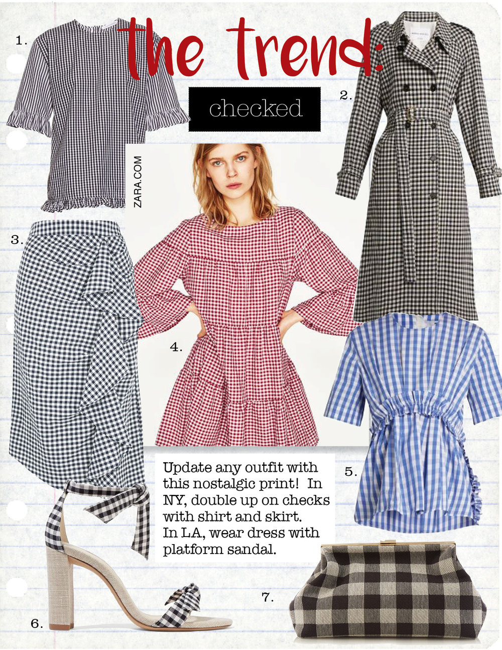 1. j.w.anderson gingham ruffled cotton top, $270,  matchesfashion.com  2. sonia rykiel gingham wool trench coat, $1331,  matchesfashion.com  3. topshop gingham ruffle midi skirt, $75,  topshop.com  4. zara gingham mini dress, $49,  zara.com  5. msgm gingham ruffle-trimmed cotton top, $237,  matchesfashion.com  6. alexandre birman clarita gingham and canvas sandals, $495,  net-a-porter.com  7. mansur gavriel volume gingham clutch, $606,  matchesfashion.com