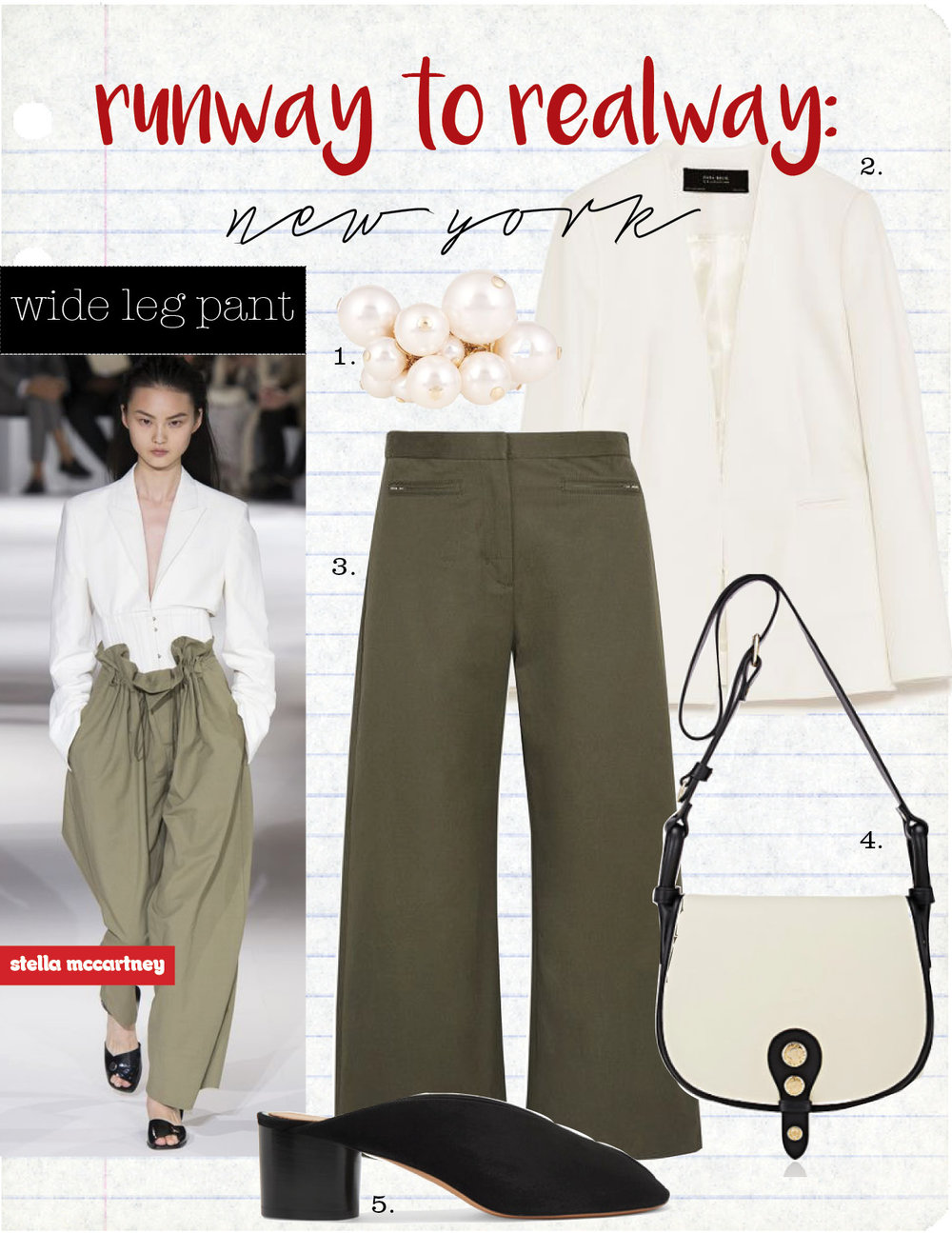 1. lanvin faux-pearl cluster ring, $345,  matchesfashion.com  2. zara white blazer, $69,  zara.com  3. t by alexander wang stretch-cotton twill culottes, $315,  net-a-porter.com  4. maison mayle alhambra saddle bag, $895,  barneys.com  5. isabel marant measha mules, $535,  farfetch.com