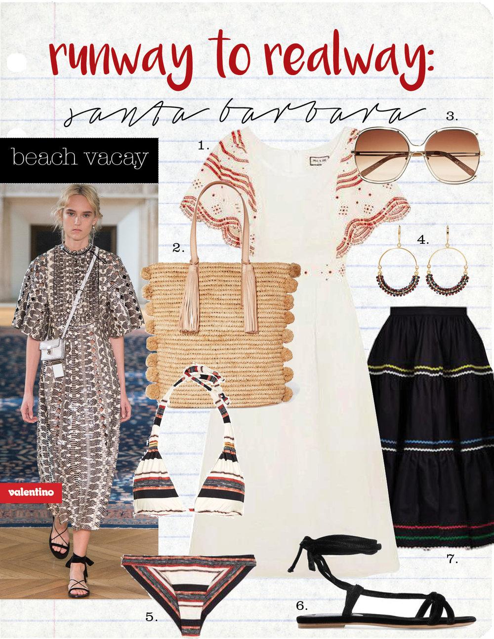 1. paul&joe broderie anglaise-trimmed cotton dress, $510,  net-a-porter.com  2. loeffler randall cruise pompom-embellished woven raffia tote, $350,  net-a-porter.com  3. chloe isadora gold-tone square-frame sunglasses, $450,  net-a-porter.com  4. isabel marant gold-tone beaded hoop earrings, $165,  net-a-porter.com  5. vix thai striped triangle bikini top, $100, bottom, $90,  net-a-porter.com  6. gabriela hearst velevt sandals, $595,  net-a-porter.com  7. anna october ric-rac trimmed cotton skirt, $525,  matchesfashion.com