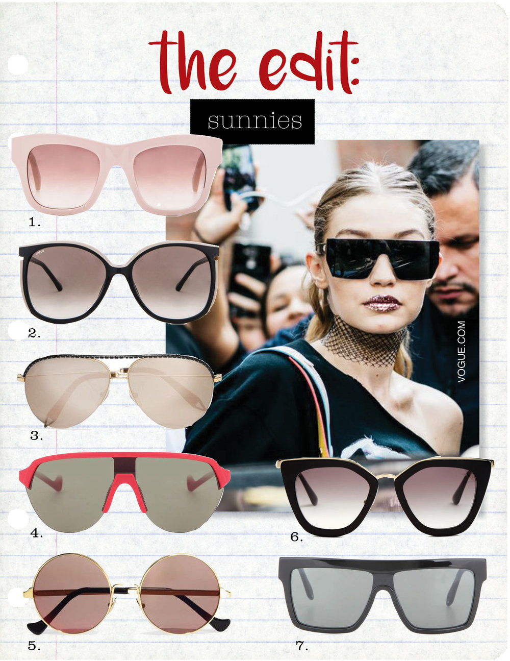 1. stella maccartney square chain sunglasses, $400,  fwrd.com  2. loewe vedra sunglasses, $330,  fwrd.com  3. victoria beckham aviator gold-tone mirrored sunglasses, $980,  net-a-porter.com  4. district vision nagata district sky g15 sunglasses, $270,  mytheresa.com  5. cutler and gross round-frame gold plated sunglasses, $400,  net-a-porter.com  6. prada eyewear cat-eye acetate sunglasses, $311,  matchesfashion.com  7. victoria beckham flat top visor sunglasses, $450,  mytheresa.com