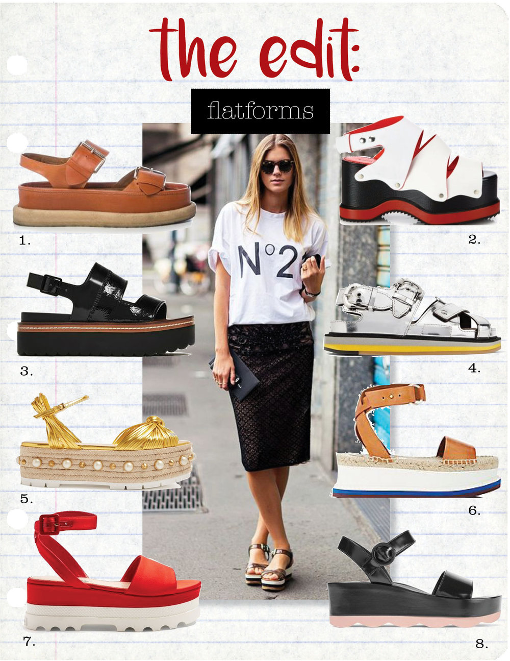 1. stella maccartney submerge faux-leather flatform sandals, $778,  matchesfashion.com  2. proenza schouler two-tone leather platform sandals, $1095,  saksfifthavenue.com  3. zara platform wedges, $69,  zara.com  4. maison margiela mirrored-leather sandals, $995,  net-a-porter.com  5. gucci pearl-embellished leather platform sandals, $906,  matchesfashion.com  6. stella mccartney espadrille platform sandals, $481,  matchesfashion.com  7. miu miu bi-colour satin flatform sandals, $500,  matchesfashion.com  8. prada glossed-leather platform sandals, $780,  net-a-porter.com
