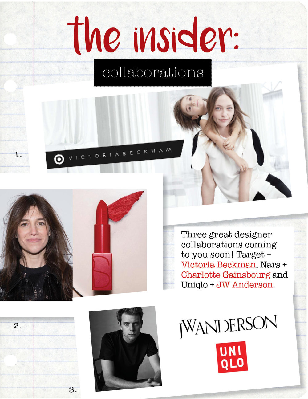 1. victoria beckham for target,  target.com  2. charlotte gainsbourg for nars,  narscosmetics.com  3. jw anderson for uniqlo,  businessoffashion.com