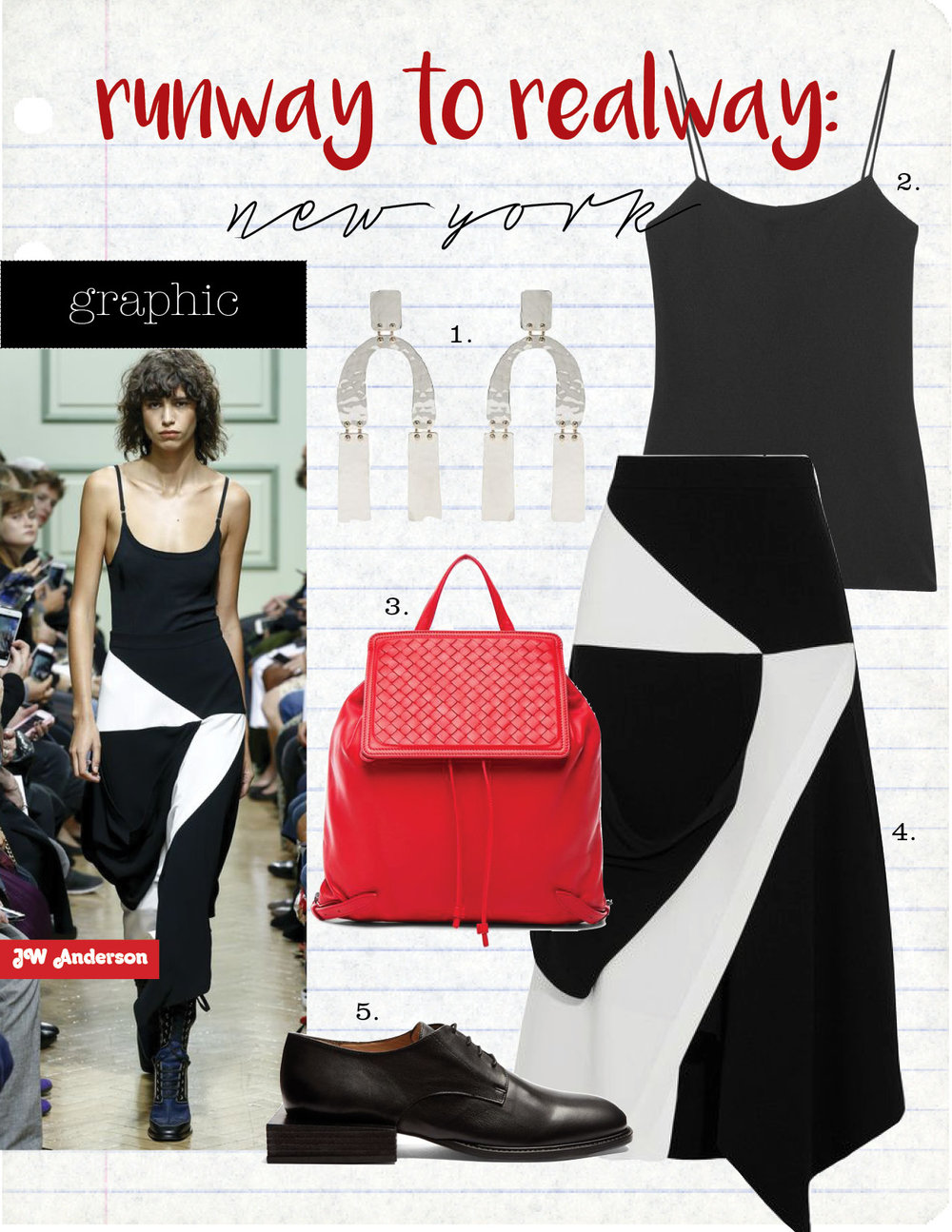 1. proenza schouler abstract-shaped hammered drop earrings, $567,  matchesfashion.com  2. the row biggins matte-satin camisole, $350,  net-a-porter.com  3. bottega veneta woven leather backpack, $2450,  fwrd.com  4. j.w.anderson asymmetric wrap-effect crepe skirt, $995,  net-a-porter.com  5. jacquemus sculptured-heel leather brogues, $510,  matchesfashion.com