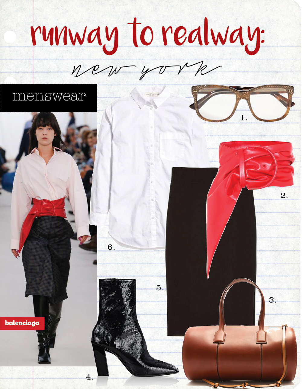 1. gucci crystal- embellished square- frame acetate glasses, $700,  net-a-porter.com  2. balenciaga scarf leather belt, $825,  mytheresa.com  3. loewe barrel medium leather tote, $1868,  matchesfashion.com  4. balenciaga inclined-heel patent leather ankle booties, $1015,  barneys.com                             5. zara pencil skirt, $49,  zara.com  6. h&m wide-cut cotton shirt, $19,  hm.com