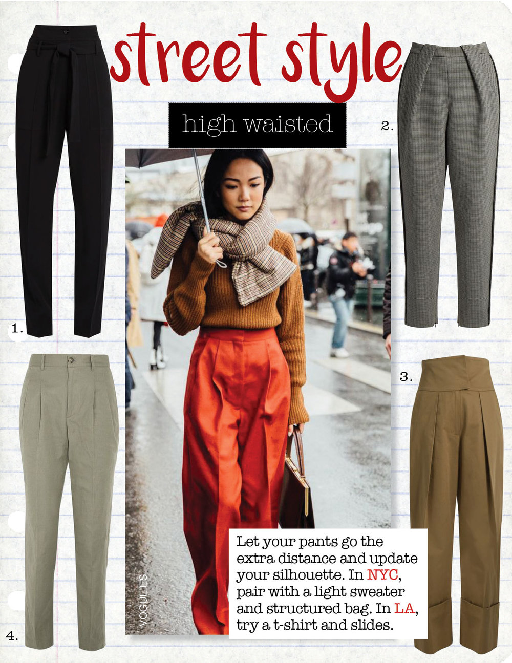 1. vanessa bruno espagny high-rise tapered-leg crepe trousers, $518,  matchesfashion.com  2. balenciaga high-waisted tapered-leg hound's-tooth trousers, $856,  matchesfashion.com  3. PREEN LINE TERRI HIGH-RISE COTTON GABARDINE TROUSERS, $381,  MATCHESFASHION.COM  4. A.P.C. LENA COTTO AND LINEN-BLEND TAPERED PANTS, $310,  NET-A-PORTER.COM