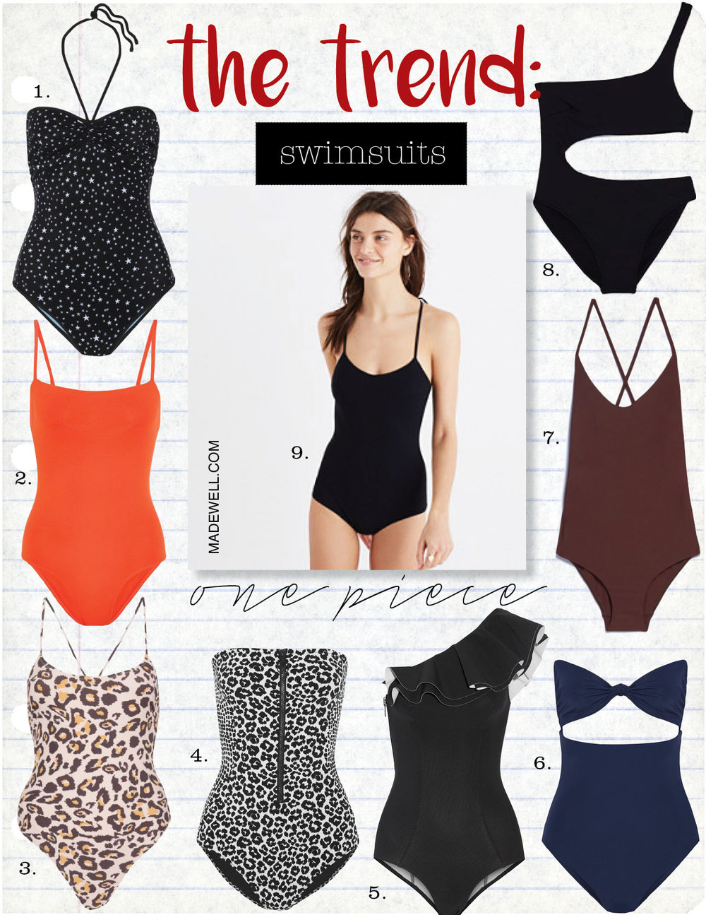 1, diane von furstenberg printed halterneck swimsuit, $250,  net-a-porter.com  2. eres les essentiels aquarelle swimsuit, $280,  net-a-porter.com  3. topshop swimsuit by somedays lovin, $120,  topshop.com  4. stella mccartney printed bandeau swimsuit, $245,  net-a-porter.com  5. lisa marie fernandez arden ruffle swimsuit, $465,  net-a-porter.com  6. mara hoffman knotted cutout swimsuit, $230,  net-a-porter.com  7. matteau swim cross back maillot, $280,  needsupply.com  8. zara asymmetric swimwear , $35,  zara.com  9. madewell pale nero tie-strap one-piece swimsuit, $146,  madewell.com
