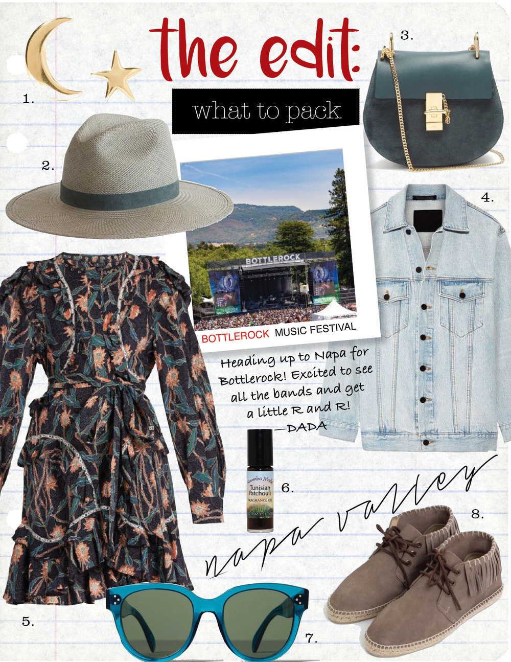 1. catbird tiny dancer 14-karat gold earrings, $115,  net-a-porter.com  2. janessa  leone marion straw hat, $300,  janessaleone.com  3. chloe drew small leather and suede cross-body bag, $1487,  matchesfashion.com  4. alexander wang daze oversized denim jacket, $450,  net-a-porter.com  5. isabel marant ullo floral-print cotton dress, $840,  net-a-porter.com  (and on sale in store) 6. tunisian patchouli oil, $10,  kuumbamade.com  (and avail at whole foods) 7. celine audrey sunglasses, $300,  celine.com  8. cherokee high top espadrille, $170,  shopheist.com    9. Bottlerock
